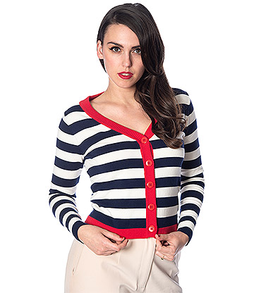Banned Sail Away Cardigan (Navy/Cream)