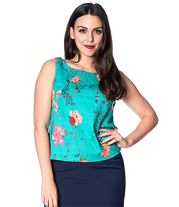 Banned Peacock Baroque Top (Turquoise)