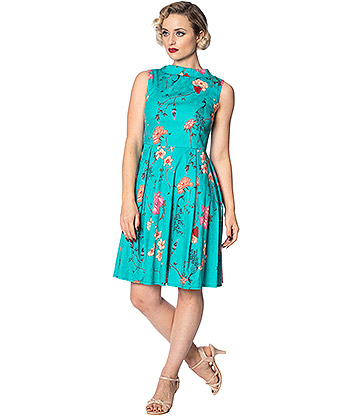 Banned Peacock Baroque Dress (Turquoise)