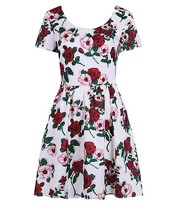 Banned Rose Dress (White/Red)