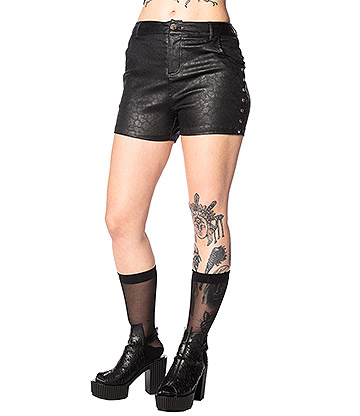 Banned Glam Goth Leo Shorts (Black)