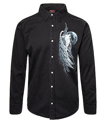 Spiral Direct Wolf Spirit Long Sleeve Shirt (Black)