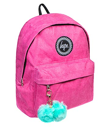 Hype Corduroy Pom Pom Backpack (Pink/Mint)