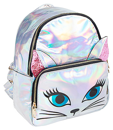 Blue Banana Holographic Cat Small Backpack (Silver)