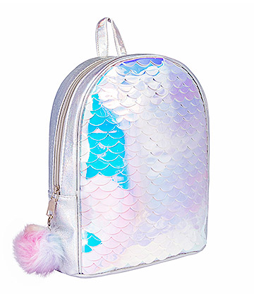 Blue Banana Fish Scale Mini Backpack (Silver)