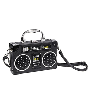 Blue Banana Boombox Handbag (Black)