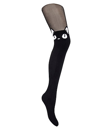 Blue Banana Cat Face Tights (Black)