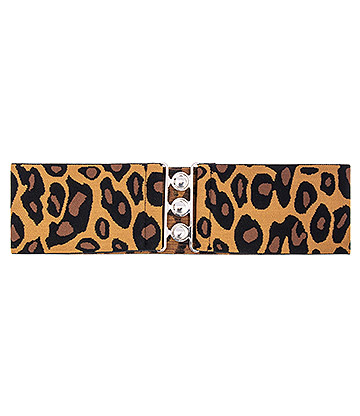 Blue Banana Leopard Print Stretch Clasp Belt (Brown)