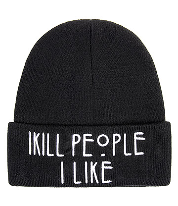 Blue Banana I Kill Beanie Hat (Black)