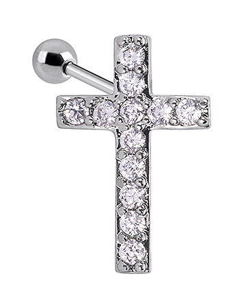 Blue Banana Surgical Steel 1.0mm Crystal Cross Tragus Stud (Silver)