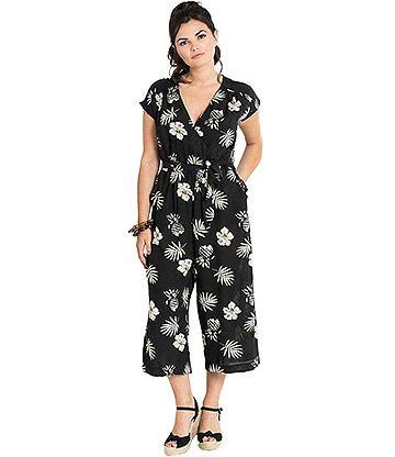 Hell Bunny Pineapple Jumpsuit (Black/White)