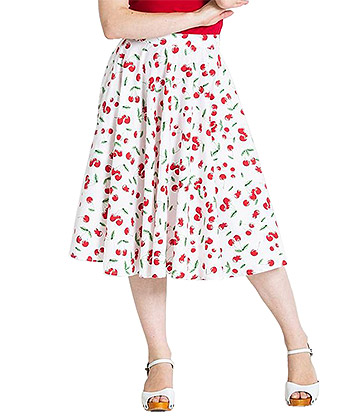Hell Bunny Sweetie 50s Skirt (White)