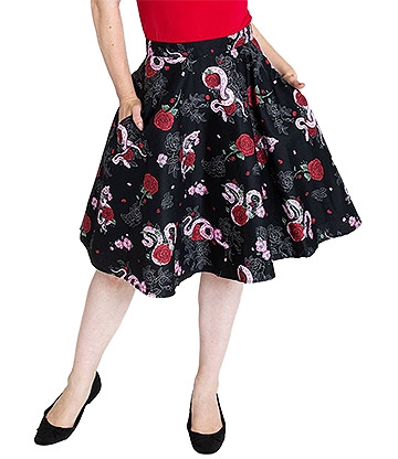 Hell Bunny Python Rose Skirt (Black)