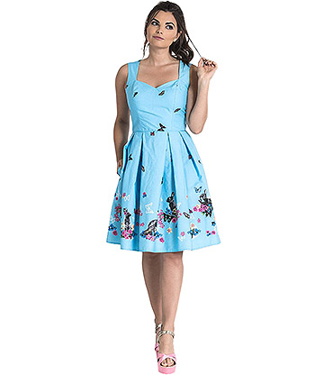 Hell Bunny Cotton Tail Kleid (Blau)