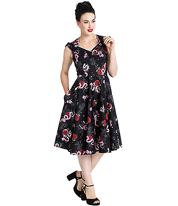 Hell Bunny Python Rose 50s Dress (Black)