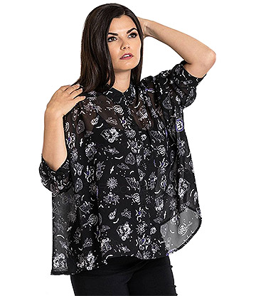 Hell Bunny Elspeth Blouse (Black)