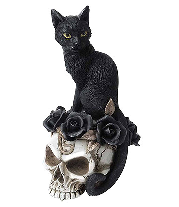 Alchemy Grimalkin's Ghost Cat Skull Ornament