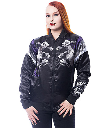 Cupcake Cult Night Unicorn Bomber Jacket (Black)