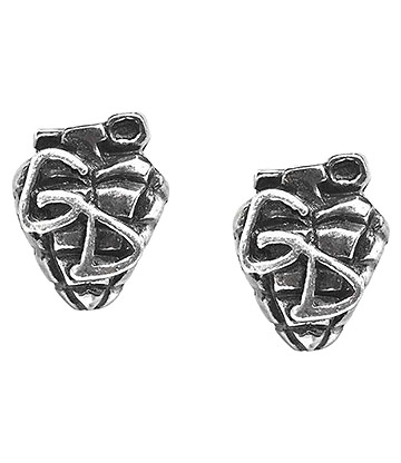 Alchemy Rocks Green Day Grenade Stud Earrings (Pewter)