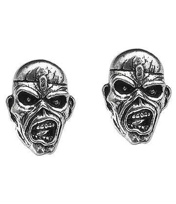Alchemy Rocks Iron Maiden Eddie Head Stud Earrings (Pewter)