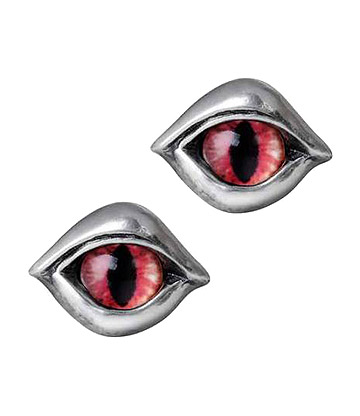 Alchemy Gothic Demon Eyes Ear Studs (Pewter)