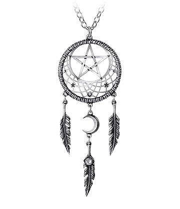Alchemy Gothic Pagan Dream Catcher Pendant (Silver)