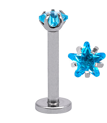 Blue Banana Surgical Steel 3mm Star 1.2mm Labret (Aqua)
