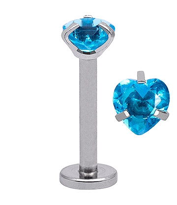 Blue Banana Body Piercing Labret Con Corazón de 4mm - Aguamarina 1.2x8mm