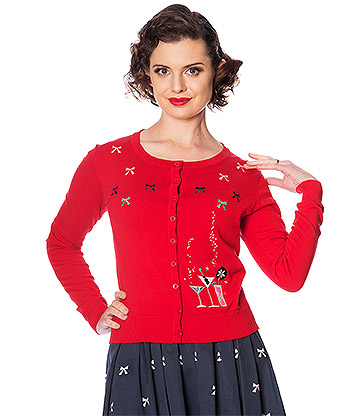 Banned Christmas Cocktails Cardigan (Red)