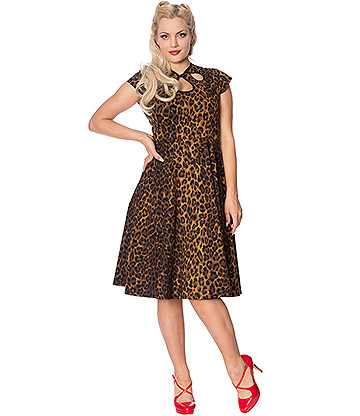 Banned Leopard Wide Hem Dress (Brown)