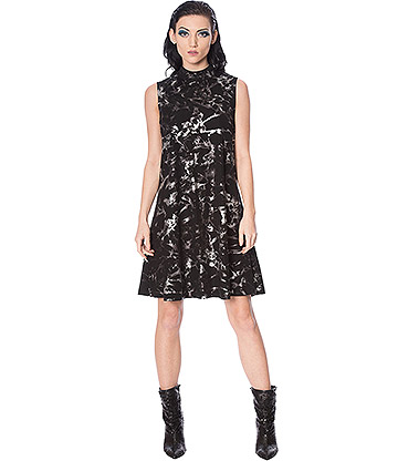 Banned Silver Haze High Neck Dress (Black/Silver)