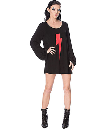 Banned Thunderbolt Oversized Top (Black)