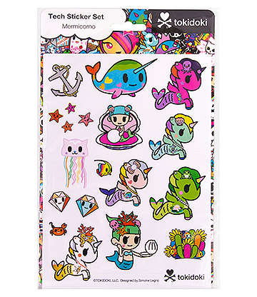 Tokidoki Pack de Pegatinas o Tech Sticker Set Mermicorno - Multicolor