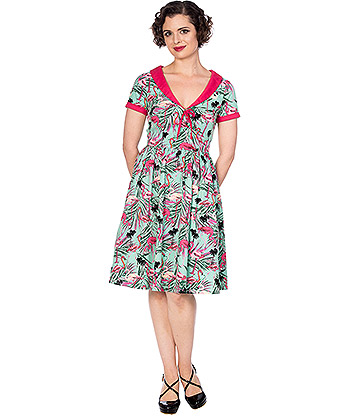 Banned Sweet Swans Rockabilly Dress (Green/Pink)