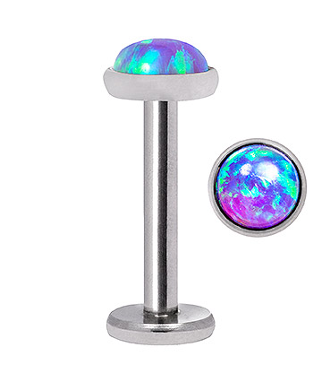 Blue Banana Synthetic Opal 1.2 x 8mm Internally Threaded Labret (4mm Blue/Purple)
