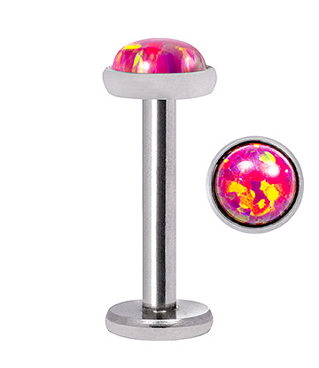 Blue Banana Synthetic Opal 1.2 x 8mm Internally Threaded Labret (4mm Pink/Purple)