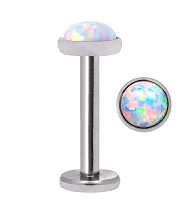 Blue Banana Synthetic Opal 1.2 x 8mm Internally Threaded Labret (4mm Pearl)