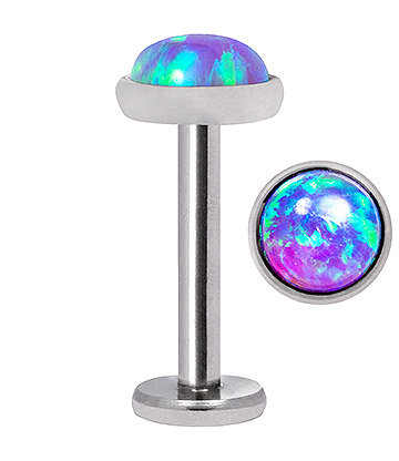 Blue Banana Synthetic Opal 1.2 x 8mm Internally Threaded Labret (5mm Blue/Purple)