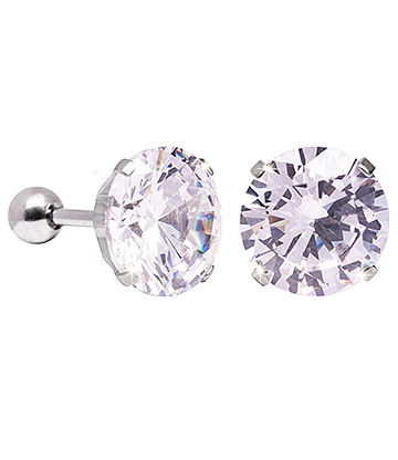 Blue Banana 10mm Cubic Zirconia Gem Earrings (Crystal)