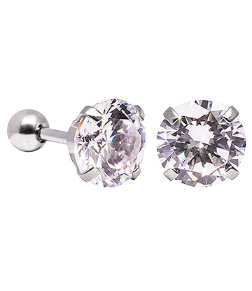Blue Banana 8mm Cubic Zirconia Gem Earrings (Crystal)