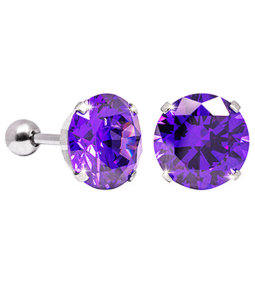 Blue Banana 10mm Cubic Zirconia Gem Earrings (Amethyst)