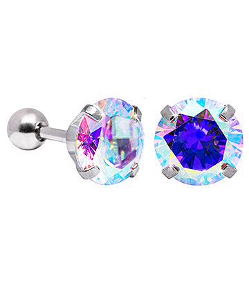 Blue Banana 8mm Cubic Zirconia Gem Earrings (Aurora Borealis)