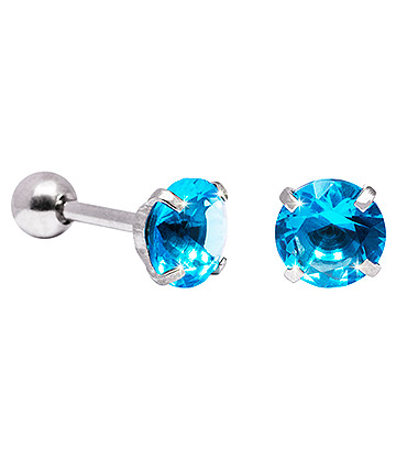 Blue Banana 6mm Cubic Zirconia Gem Earrings (Aqua)