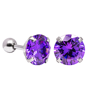 Blue Banana 8mm Cubic Zirconia Gem Earrings (Amethyst)