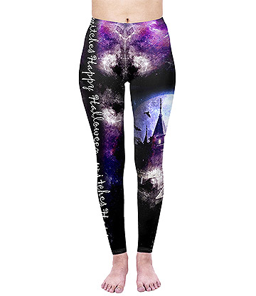 Kukubird Leggings Con Estampado de Castillo Encantado - Multicolor