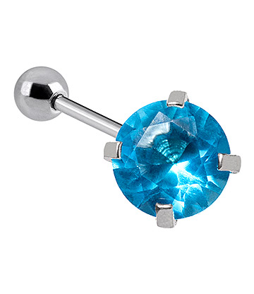 Blue Banana 1.2mm Aqua Schmuckstein Tragus Bar Piercing (4mm)