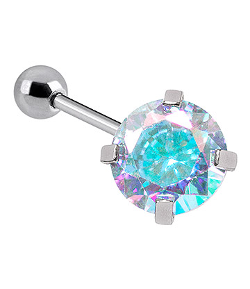Blue Banana 1.2mm Aurora Borealis Jewel Tragus Bar (4mm)
