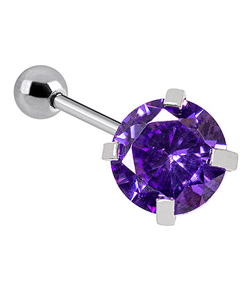 Blue Banana 1.2mm Amethyst Jewel Tragus Bar (4mm)