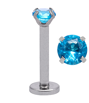 Blue Banana 1.2mm Aqua Jewel Labret (3mm)