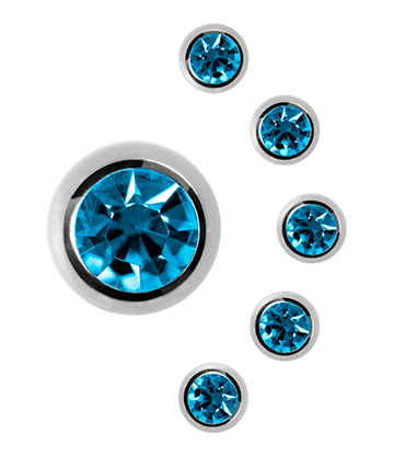 Blue Banana Surgical Steel 6mm Jewelled Ball (Zircon Blue)